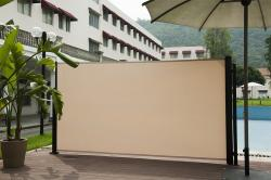 Abba Patio Retractable Folding Screen Privacy Divider With Steel Pole, 5.2'H, Beige