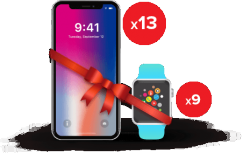 Win IPhone X (13 Prizes) & Apple Watch (9 Prizes)
