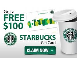 Starbucks $100 Gift Card Giveaways.
