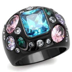 ILLASPARKZ Women's Different Size Stones Black Ring