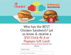 Get A $50 Popeyes Or Chick-Fil-A Gift Card!