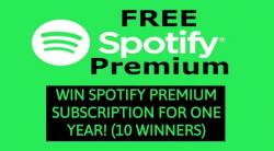 Win Spotify Premium Subscription For One Year (10 Winners)