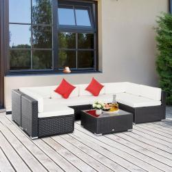 Play Outsunny 7-Piece Outdoor Patio Furniture Set With Modern Rattan Wicker