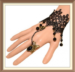 20 Retro Black Lace Bracelet With Butterfly Rings
