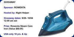 Rowenta Steam Care Iron Giveaway